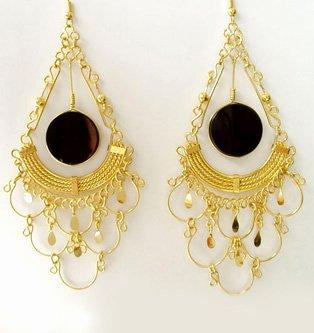 INCA GODDESS ~ LG BLACK AGATE 24K Gold Plated Chandelier Earrings
