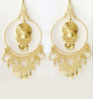 """IMPERIAL HOOPS~ 5"""" 24K Gold GP Coins Chandelier Earrings"""