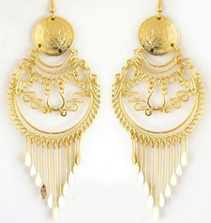 INCA SPLENDOR ~ LG 24K Gold GP Coins Chandelier Earrings