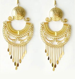 GOLD DELIRIUM ~ 24K Gold Plated Vintage Coin Chandelier Earrings