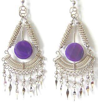 ANCESTORS ~ Purple Agate Silver Chandelier Earrings