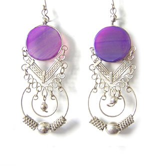 ANDEAN HOOPS ~ Purple Agate Silver Chandelier Earrings