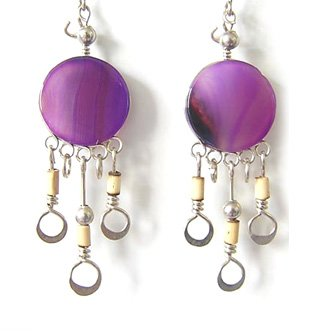 CAPRICE ~ Purple Agate Silver Bamboo Mini Chandelier Earrings