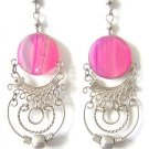 ANDEAN HOOPS ~ Fuchsia Agate Silver Chandelier Earrings