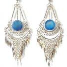 ANDEAN MERMAID ~ Long Blue Agate Silver Mesh Chandelier Earrings