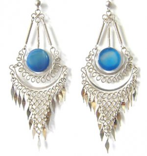 ANDEAN MERMAID ~ Long Blue Agate Silver Mesh Chandelier Earrings