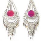 ANDEAN MERMAID ~ Long Fuchsia Agate Silver Mesh Chandelier Earrings