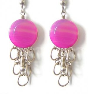BALLERINA ~ Fuchsia Agate Silver Mini Chandelier Earrings