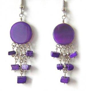 CARNIVAL ~ Purple Agate silver Mini Chandelier Earrings