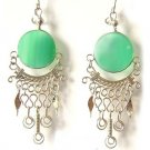 CELEBRATION ~ Green Agate Silver Chandelier Earrings