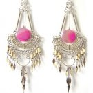 DANCE OF LIFE ~ Long Fuchsia Agate Bamboo Chandelier Earrings