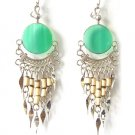 GREEN FOREST ~ Green Agate Silver Bamboo Chandelier Earrings