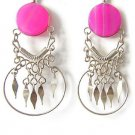 INDIAN PRINCESS~FUCHSIA AGATE Silver Chandelier Earrings