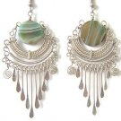 LOVE ALWAYS ~ Green Agate Silver Chandelier Earrings