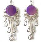 MUSE FAIRY ~ Purple Agate Silver Chandelier Earrings