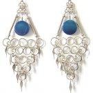 OCEAN WAVES ~ Long Blue Agate Silver Chandelier Earrings