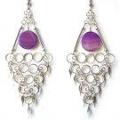 OCEAN WAVES ~ Long Purple Agate Silver Chandelier Earrings