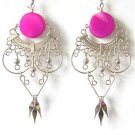 RADIANT ~ Fuchsia Agate Silver Chandelier Earrings
