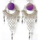 RHAPSODY ~ Purple Agate Silver Chandelier Earrings