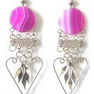 SPRING ROMANCE ~ Fuchsia Agate Silver Chandelier Earrings