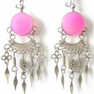 SPRINGTIME ~ Fuchsia Agate Silver Chandelier Earrings