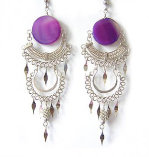 TANGO ~ Purple Agate Silver Chandelier Earrings