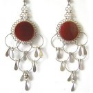 TERRA COTTA ~ Carnelian Agate Silver Chandelier Earrings