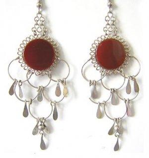 TERRA COTTA ~ Carnelian Agate Silver Chandelier Earrings