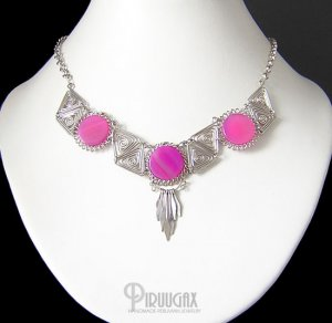 MYSTICAL PIRAMIDS ~ Fuchsia Agate Silver Necklace Choker
