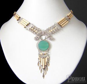 SANDY DESERT ~ Green Agate Silver Bamboo Chandelier Necklace