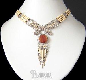 SANDY DESERT ~ ORANGE Agate Silver Bamboo Chandelier Necklace