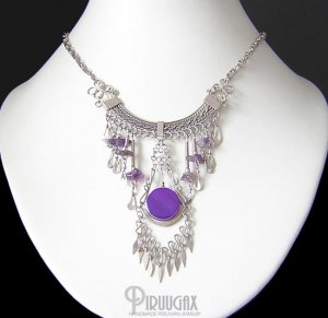 SIMPLE SOPHISTICATION ~ Purple Agate & Amethyst Silver Chandelier Necklace