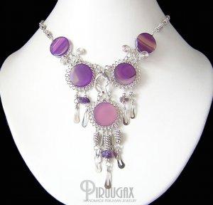 SPIRIT OF BEAUTY ~ Purple Agate & Amethyst Silver Chandelier Necklace
