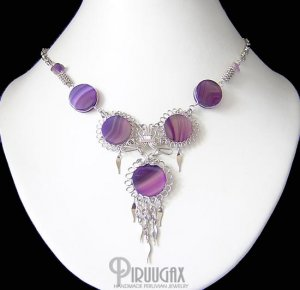 SPIRITUAL ESSENCE ~ Purple Agate & Amethyst Silver Chandelier Necklace