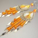 JUICY ORANGE ~  Hand Woven Hippie Thread Chandelier Earrings