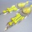 LEMON COCKTAIL ~  Hand Woven Hippie Thread Chandelier Earrings