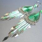 FRESH MINT ~  Hand Woven Hippie Thread Chandelier Earrings