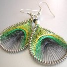 PEACOCK ~ Yellow Green Black Metallic Thread Earrings