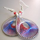 PEEK-A-BOOO ~ Blue Red White Metallic Thread Earrings