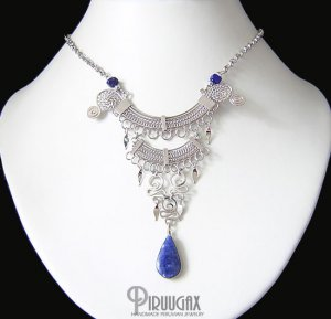 Gothic Solidate Lapis Lazuli Silver Dangle Necklace