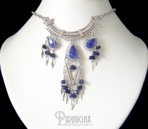 Boho Solidate Lapis Lazuli nuggets Silver Filigree Necklace