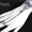 ROYAL BLUE Cat Eye Beaded Silver Slave Bracelet & Ring