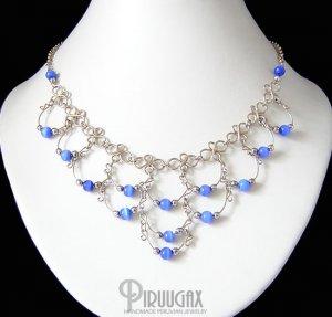 BLUE Cat Eye Beaded Silver Crescent Necklace Choker