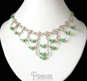 GREEN Beaded Silver Crescent Necklace Choker
