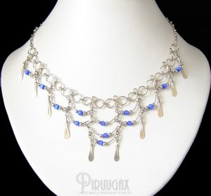 ROYAL BLUE Cat Eye Beaded Tiers Dangle Necklace Choker