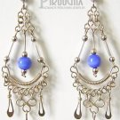 ROYAL BLUE Cat Eye Beaded Silver Clover Chandelier Earrings