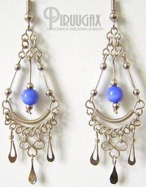 ROYAL BLUE Cat Eye Beaded Silver Clover Chandelier Earrings