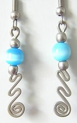 TURQUOISE Cat Eye Beaded Silver Spiral Dangle Earrings