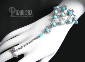 TURQUOISE Cat Eye Beaded Silver Flower Slave Bracelet & Ring