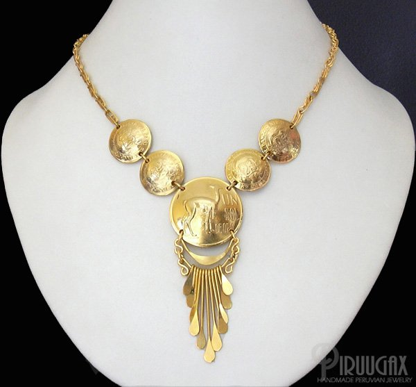 INCA RELICS Rich 18K Gold plated Chandelier Necklace